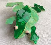 Signed Lea Stein, Paris Frog Brooch (SOLD) - Bright  Green and Gold